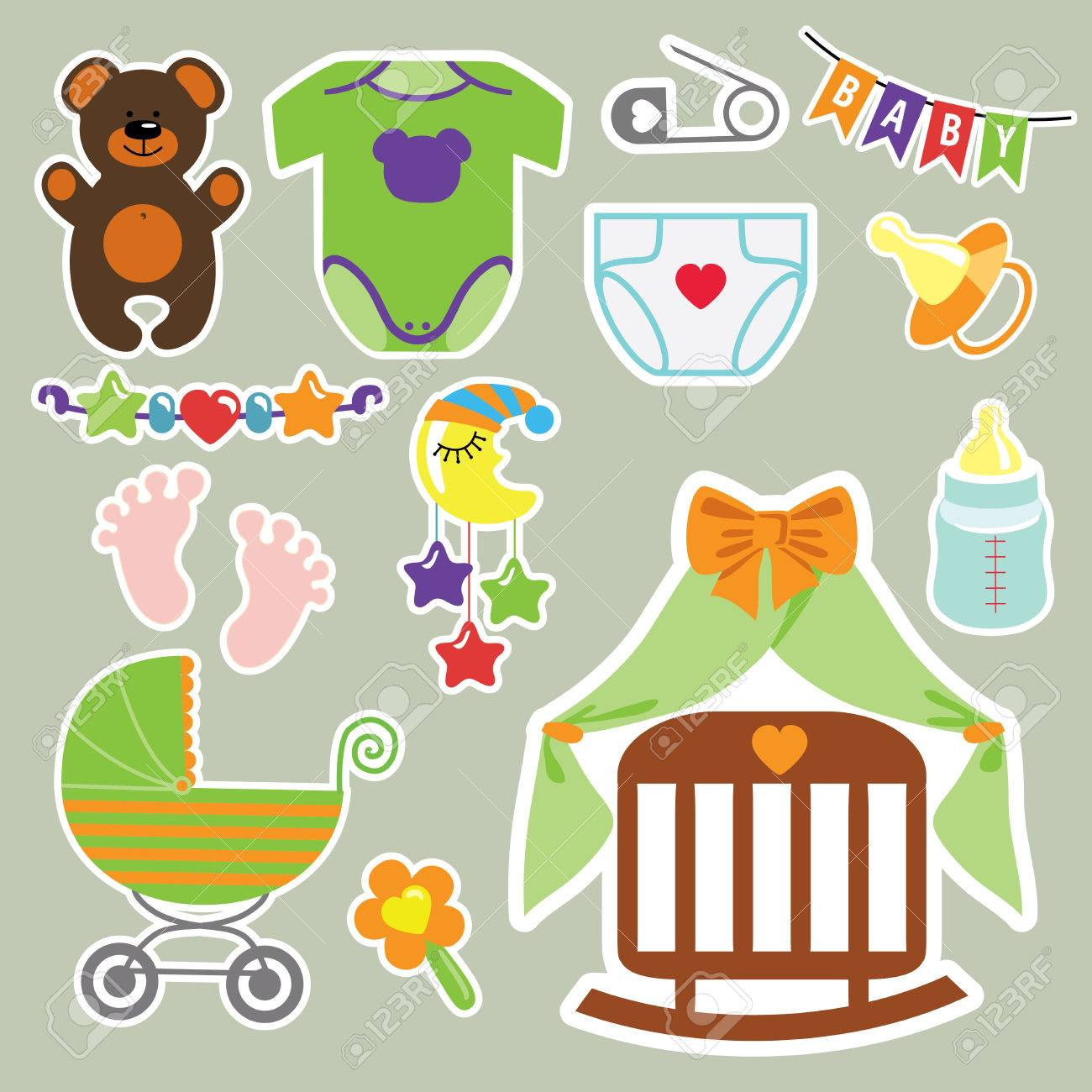 A set of cute cartoon clipart elements for newborn baby.Baby...