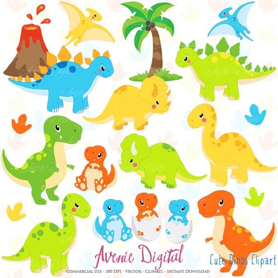 Cute Dinos Clipart. Scrapbook printable dinosaur Clip Art Commercial Use.  Trex, Triceratops, brontosaurus, stegosaurus graphics.