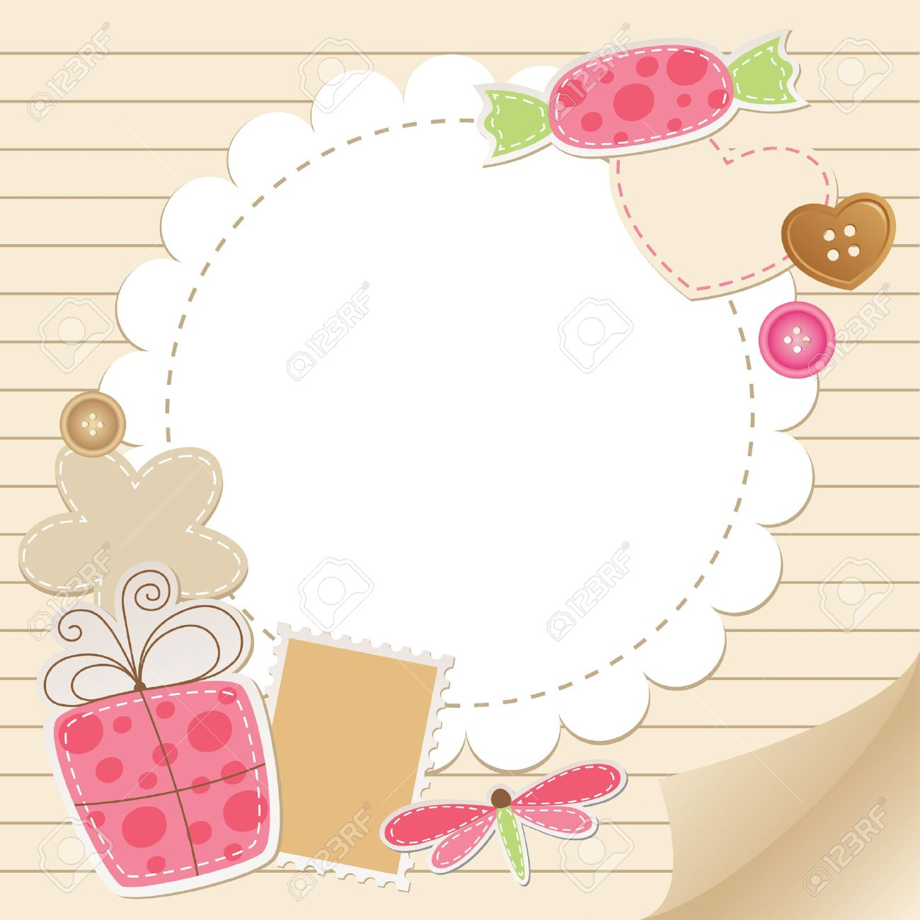 cute vintage greeting card with scrapbook elements.