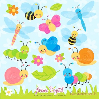 Cute Garden bugs Clipart Scrapbook Commercial Use. Insects graphics.