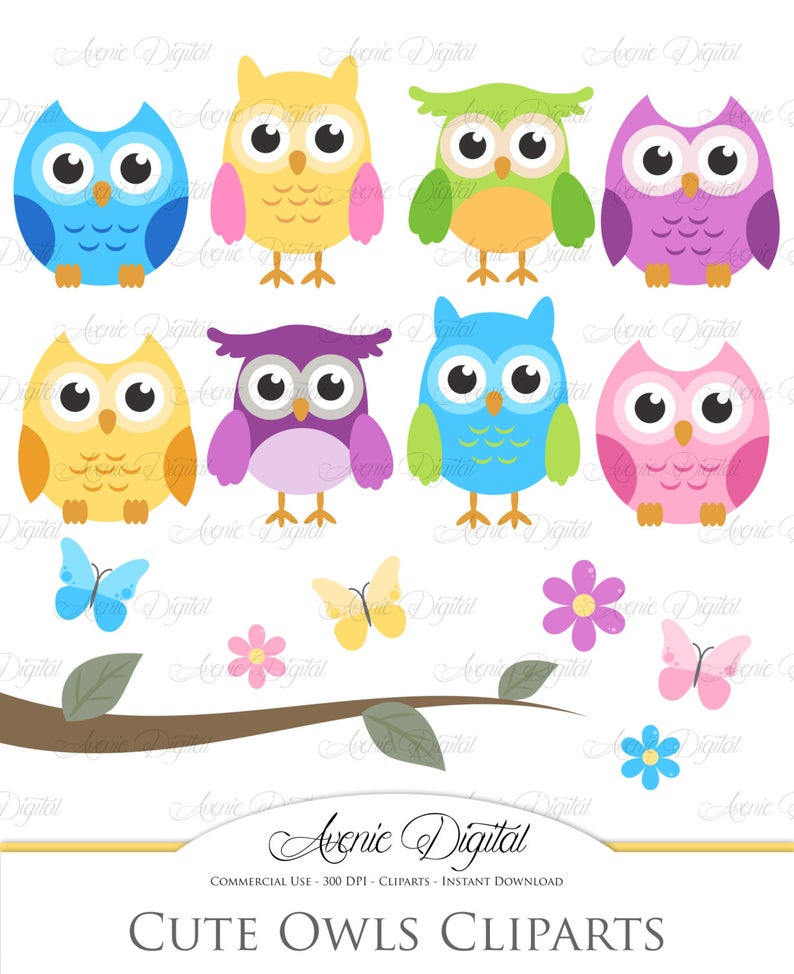 Cute Owl Clipart. Scrapbooking printables, Baby owls clip art set for  Commercial Use. Pink, blue, green, yellow and purple with tree branch.