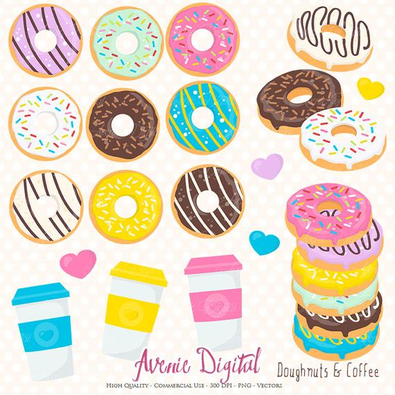 Donut And Coffee Clipart Scrapbook Printables Doughnuts Clip Art.