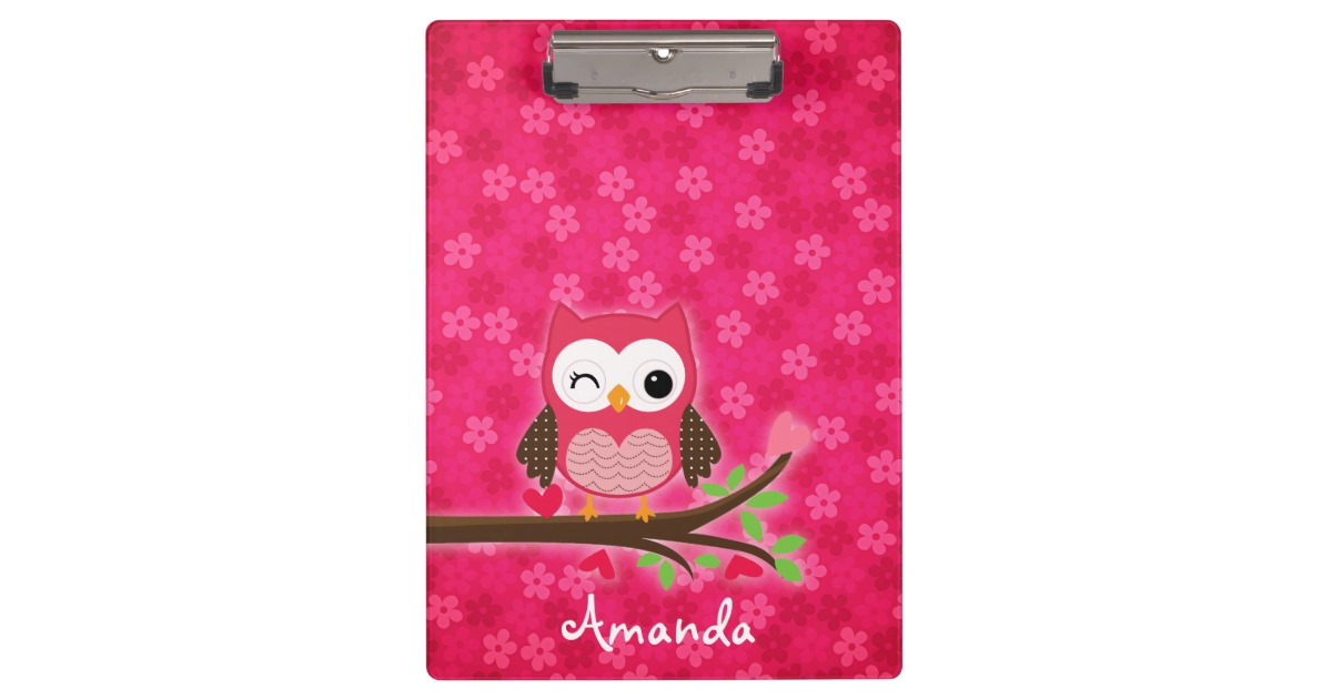 Hot Pink Cute Owl Girly Personalized Clipboard.