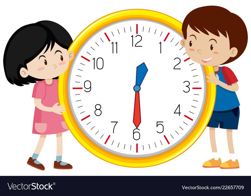Cute children clock template.