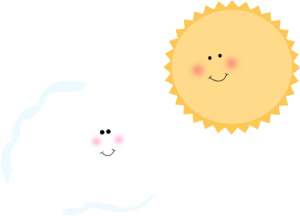 Sun and Cloud Clip Art.