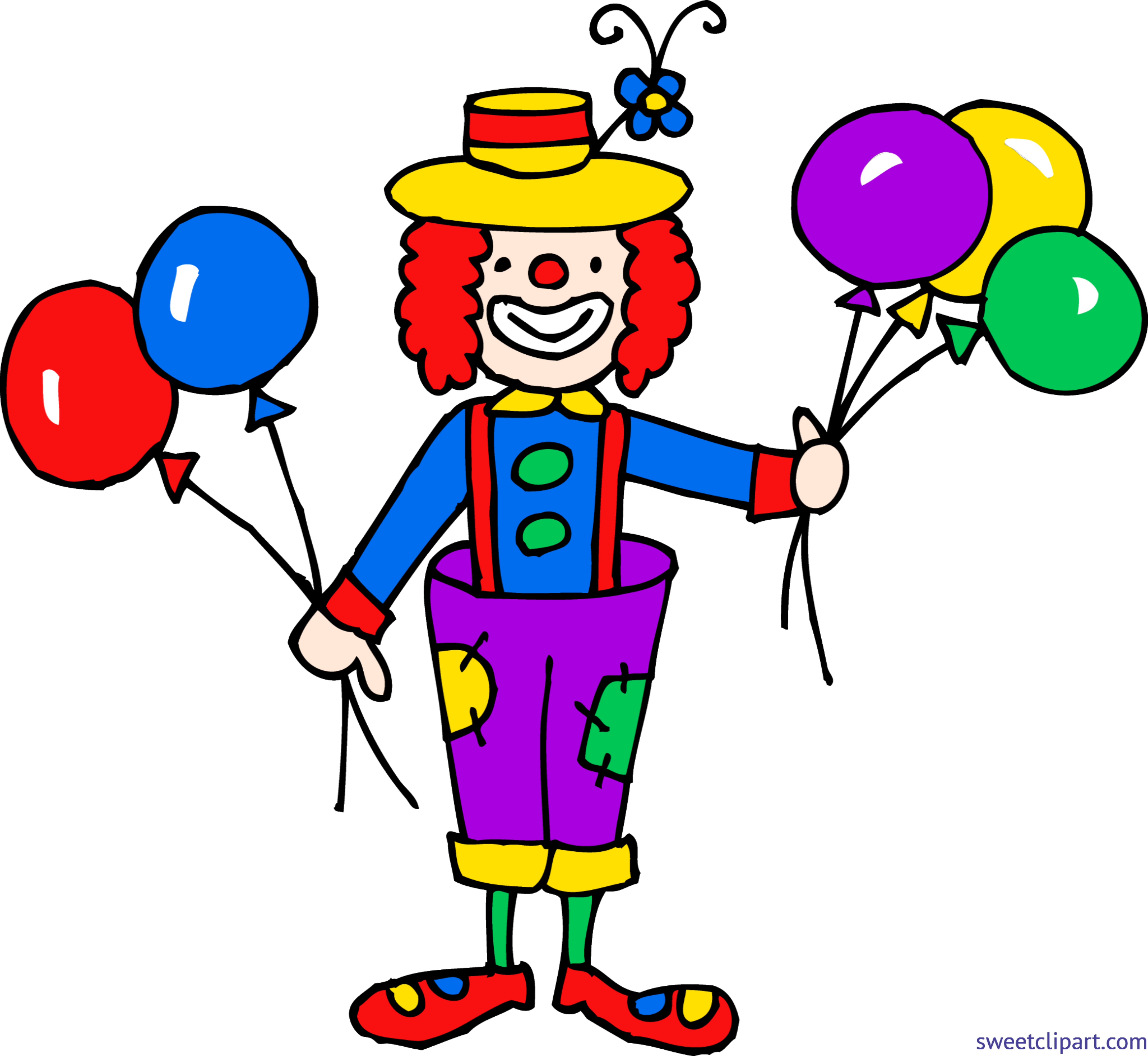 Cute Clown With Balloons Clip Art.