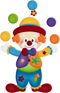 Bring in the Clowns Cute Digital Clipart for Card Design.