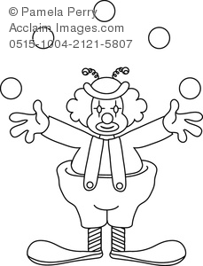 Clip Art Illustration of a Clown Juggling Coloring Page.
