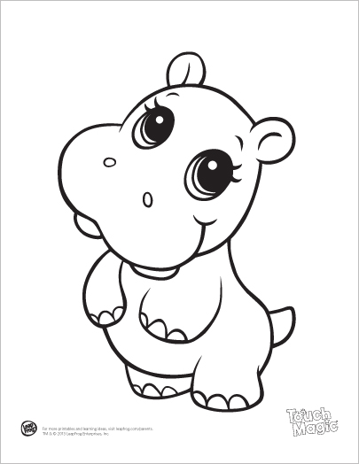 Learning Friends Hippo baby animal coloring printable from.