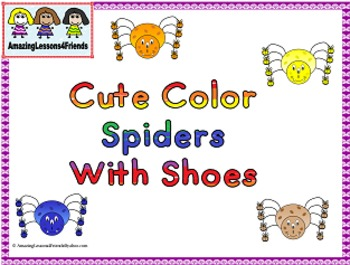 Cute Color Spiders With Shoes Clipart by AmazingLessons4Friends.