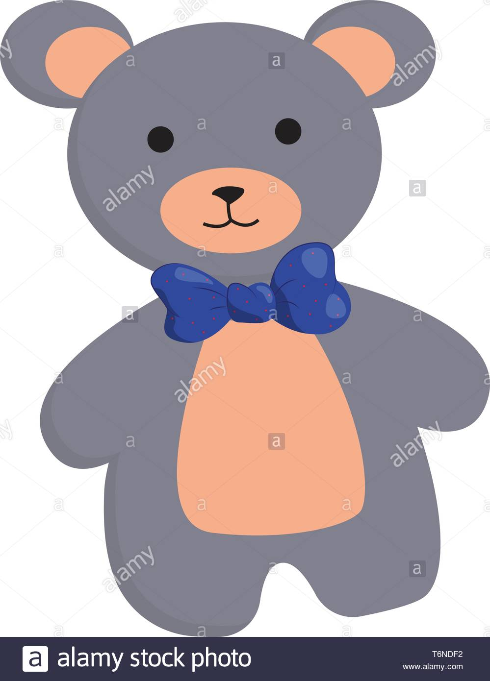 Clipart of a cute teddy bear in grey and peach colors wears a blue.