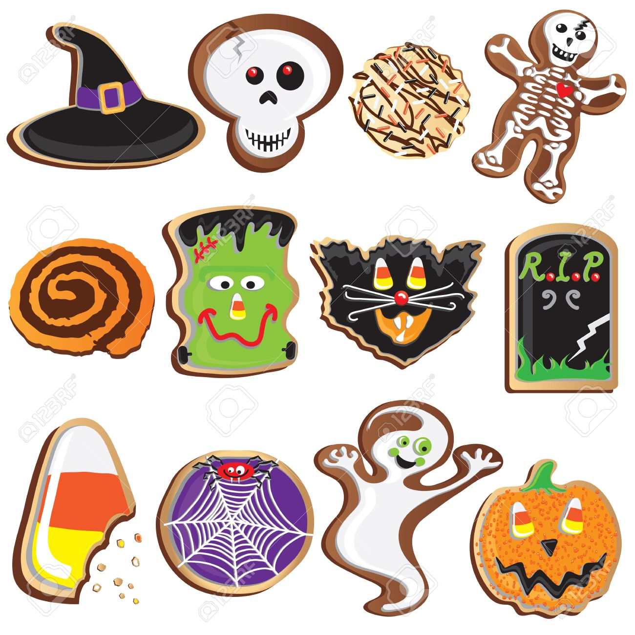Cute Halloween Cookies Clipart Elements and Icons.
