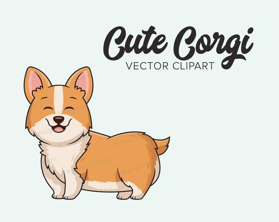 Cute Corgi Vector Clip Art, Digital, Kawaii, Chibi, Clipart, Dog.