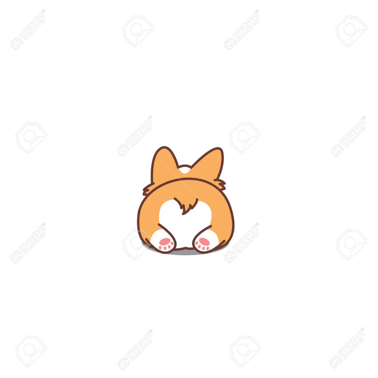 Cute corgi butt, vector illustration.