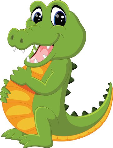 cute crocodile cartoon Clipart Image.