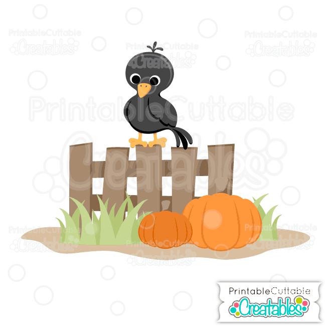 Cute Fall Crow SVG File & Clipart for Silhouette, Cricut Cutting.