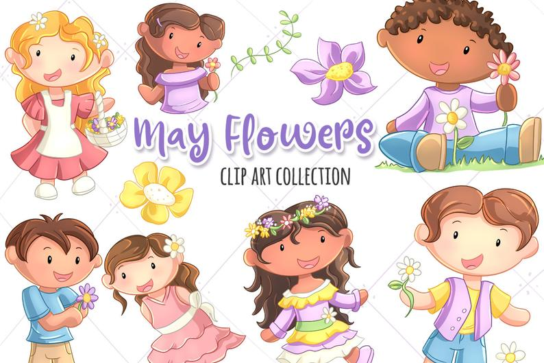 May Flowers Cute Clip Art Collection, Spring Flowers Clipart, Kids with  Flowers, Flower Crown Clip Art, Kawaii Flowers.
