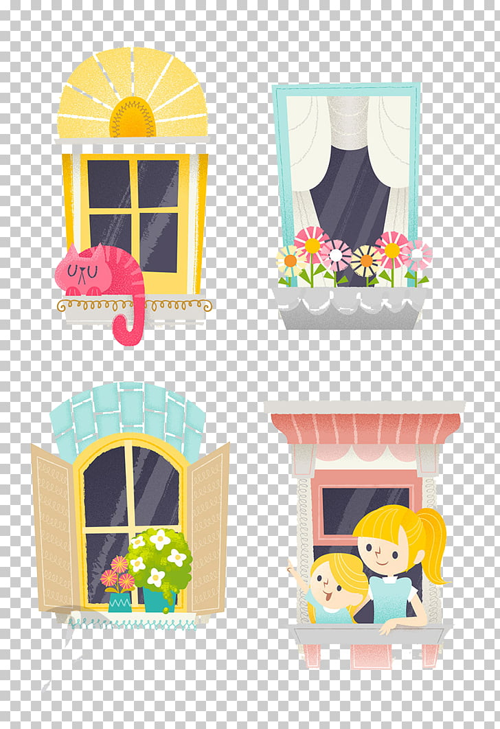 Window Illustration, Four cute design windows PNG clipart.