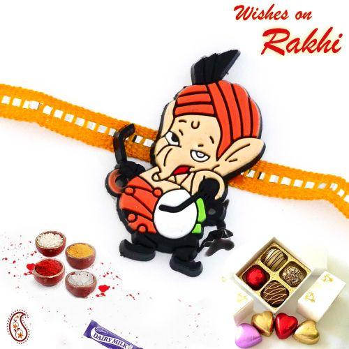 Cute Ganesha with Dhol Kids Rakhi.