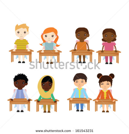 Cute Different Race Of Kids In The Classroom Clipart.