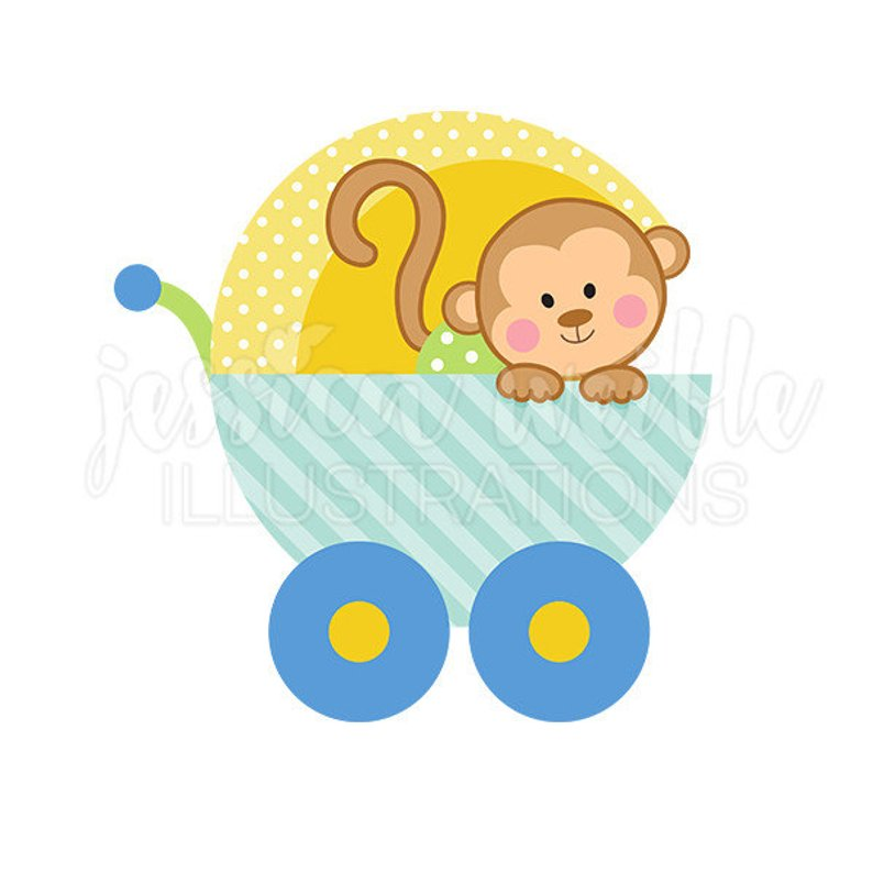 Baby Boy Monkey Carriage Cute Digital Clipart Clip Art Graphics In.