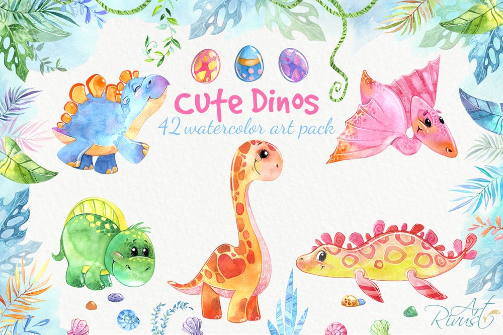 Dinosaurs, cute dinos baby watercolor clipart pack.
