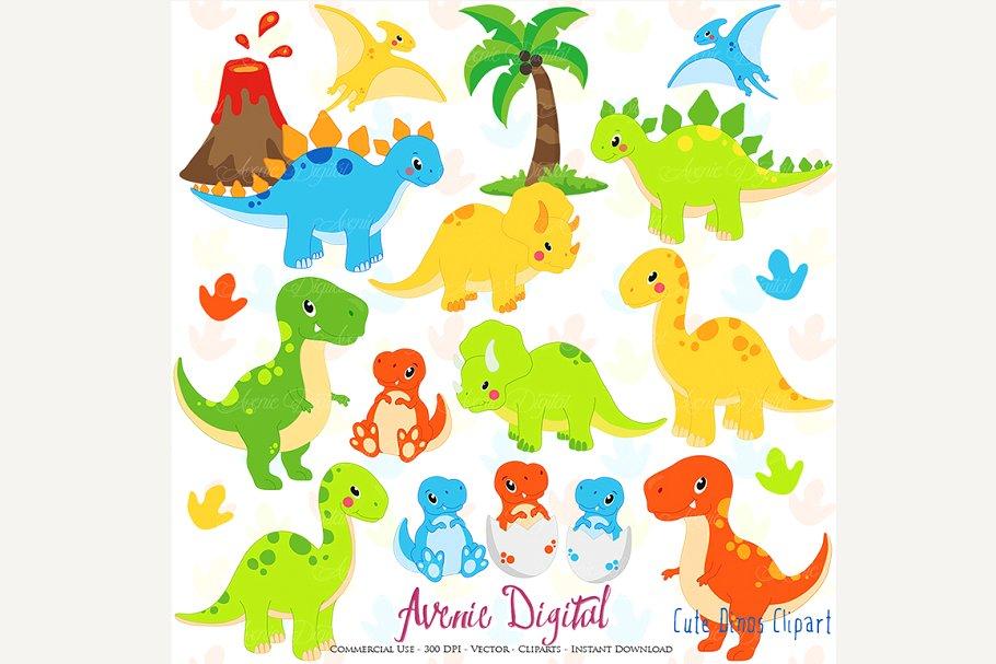 Cute Dinosaur Clipart + Vectors.