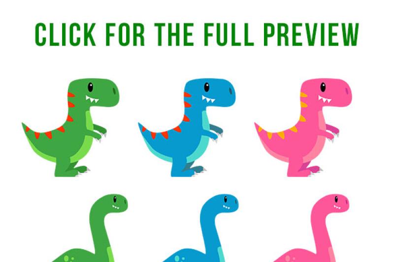 Cute Dinosaur Clipart, Dino Clipart, T.