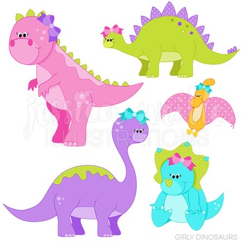 Girly Dinosaurs Cute Digital Clipart, Dinosaur Graphics.