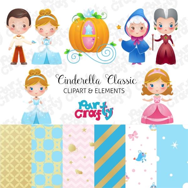 Cinderella Clipart Disney Princess Classic Cute Digital Set.