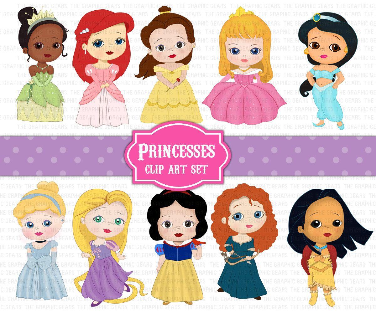 Princess Clip Art Set Disney Princesses Clipart By Graphicgears.