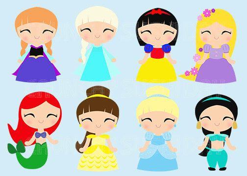 Instant Download 8 Princesses, Princess, Cute Kawaii Princess.