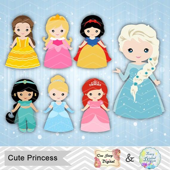 Digital Princess Clipart Disney Princess Clip Art Cute Princess Girls  Clipart Snow White Cinderella Belle Sleeping Beauty Ariel Jasmine 0169.