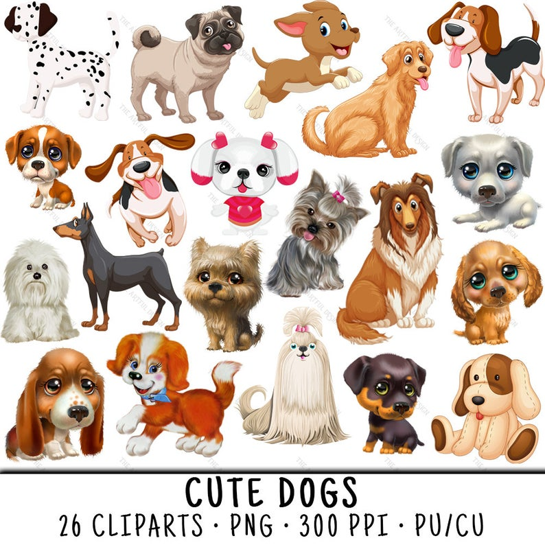 Dog Clipart, Puppy Clipart, Cute Dog Clipart, Dog Clip Art, Puppy Clip Art,  Cute Dog Clip Art, Cute Dog PNG, Puppy PNG, PNG Cute Dog.