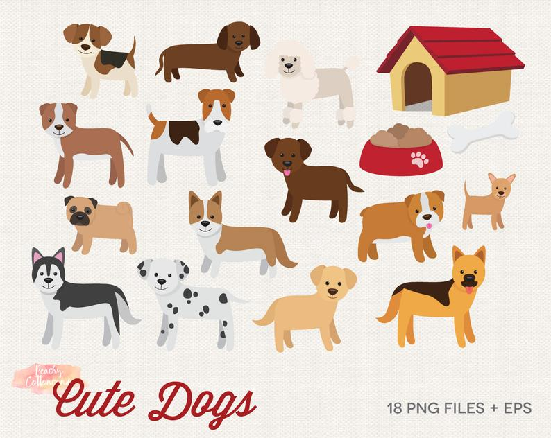 BUY 2 GET 1 FREE Cute Dogs Clipart.