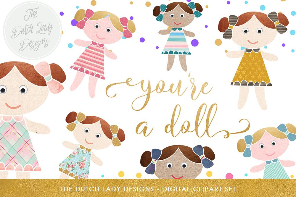 Cute Doll & Birthday Clipart Set.