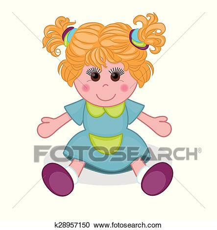 Cute doll. Vector illustration Clipart.