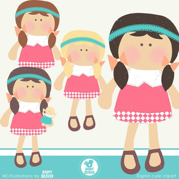 Cute doll clipart.