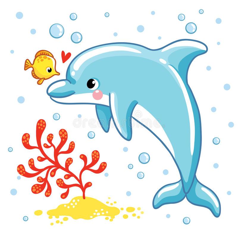 Cute Dolphin Stock Illustrations.