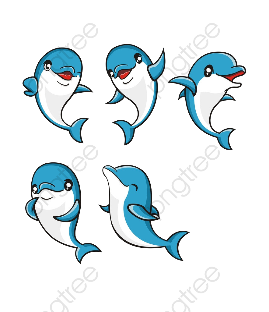 Blue Cute Dolphins, Cute Clipart, Dolphins Clipart, Cute Dolphin PNG.