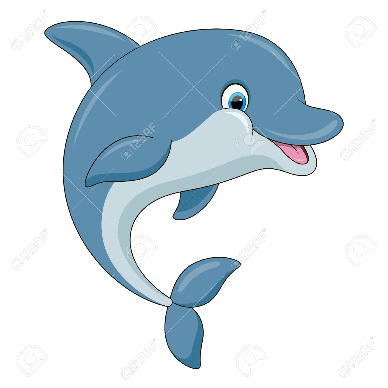 Cute cartoon dolphin illustration with simple gradients. All...