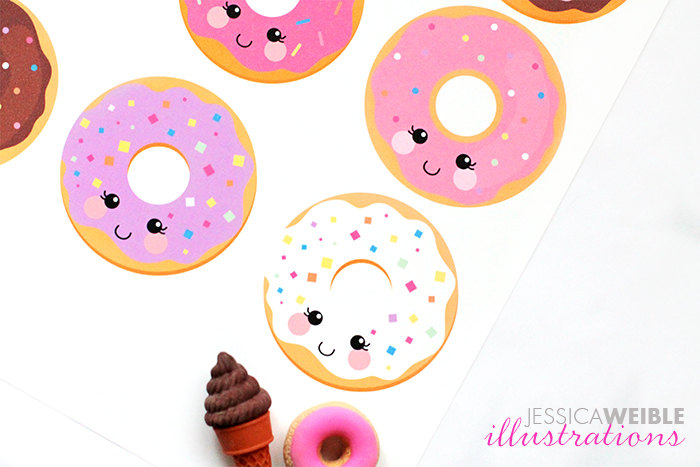 Kawaii Donuts Cute Digital Clipart, Donut Clipart, Donut Graphics.