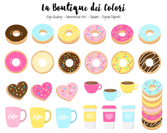 60 Doughnut Clipart Cute Digital illustrations PNG donuts.