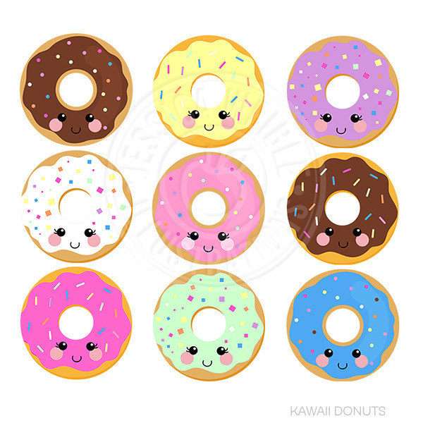 Kawaii Donuts Cute Digital Clipart Donut Clipart Donut.