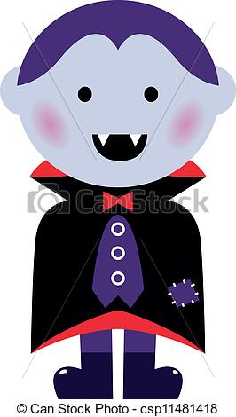 Cute Vampire boy isolated on white.