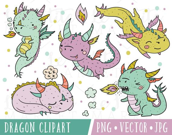 Cute Hipster Dragon Clipart Set, Kawaii Hipster Dragons, Kawaii Dragon  Clipart, Cute Dragon Clip Art, Clipart Dragon Vectors, Dragon PNG.
