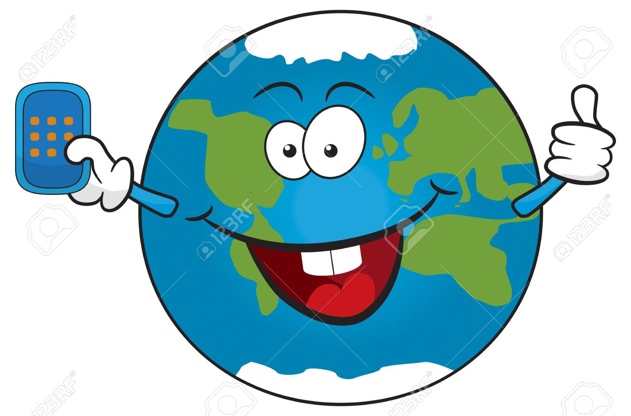 Cute Cartoon Earth Holding Mobile Phone. Royalty Free Cliparts.