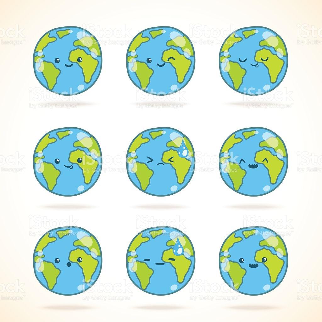 Cute Funny Cartoon Earth Globe With Face Emotions stock vector art.