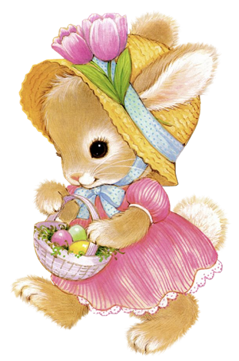 Cute Easter Bunny Girl PNG Clipart Picture.