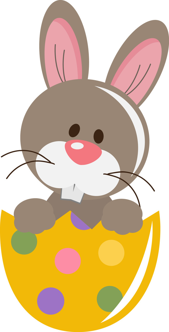 Cute Easter Bunny Transparent PNG Clipart.